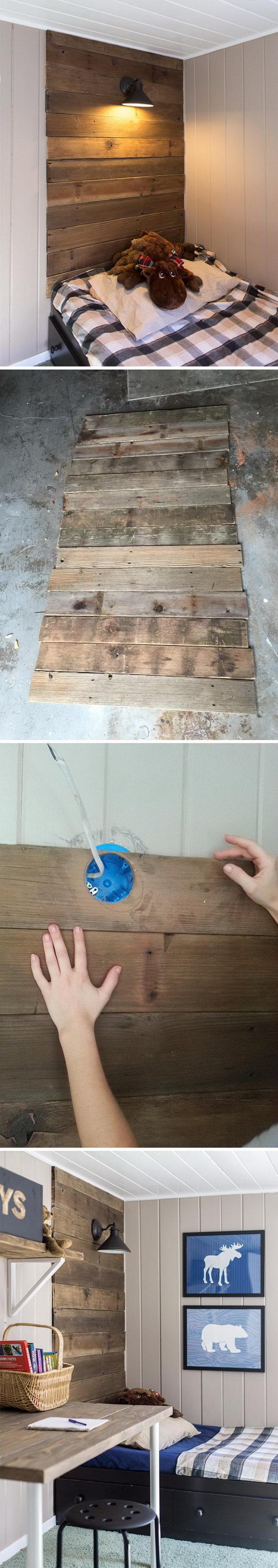 DIY Rustic Wood Headboard With Light.
