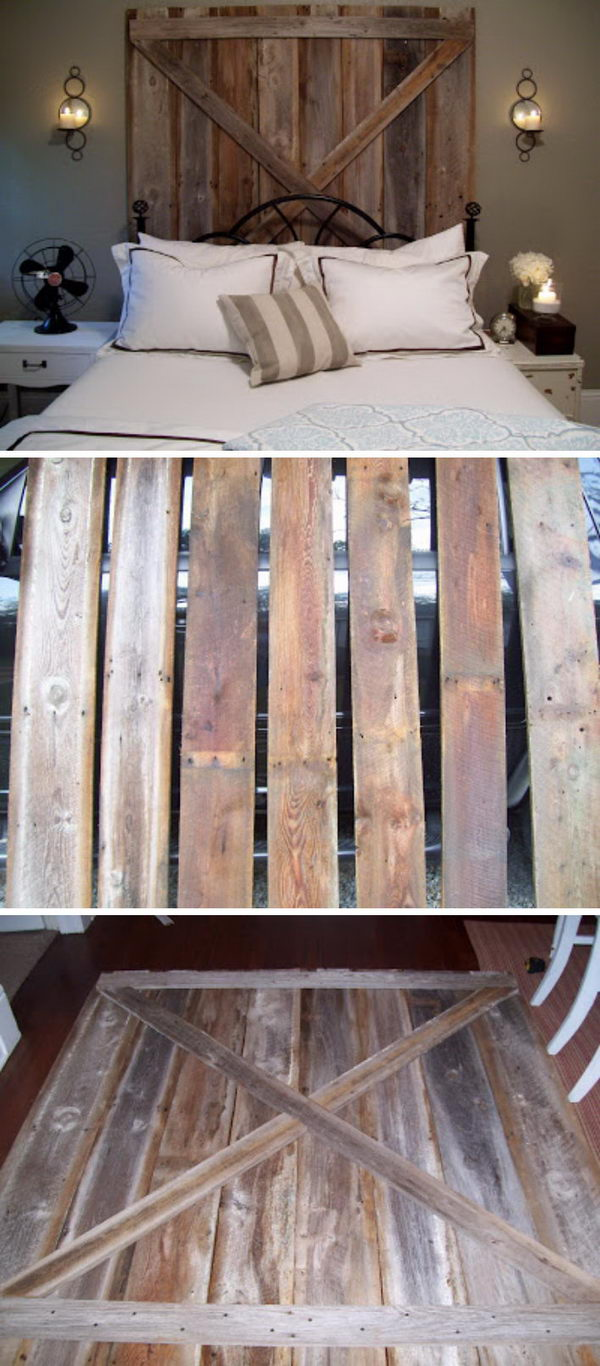 Pottery Barn Inspired DIY Barn Door Headboard.
