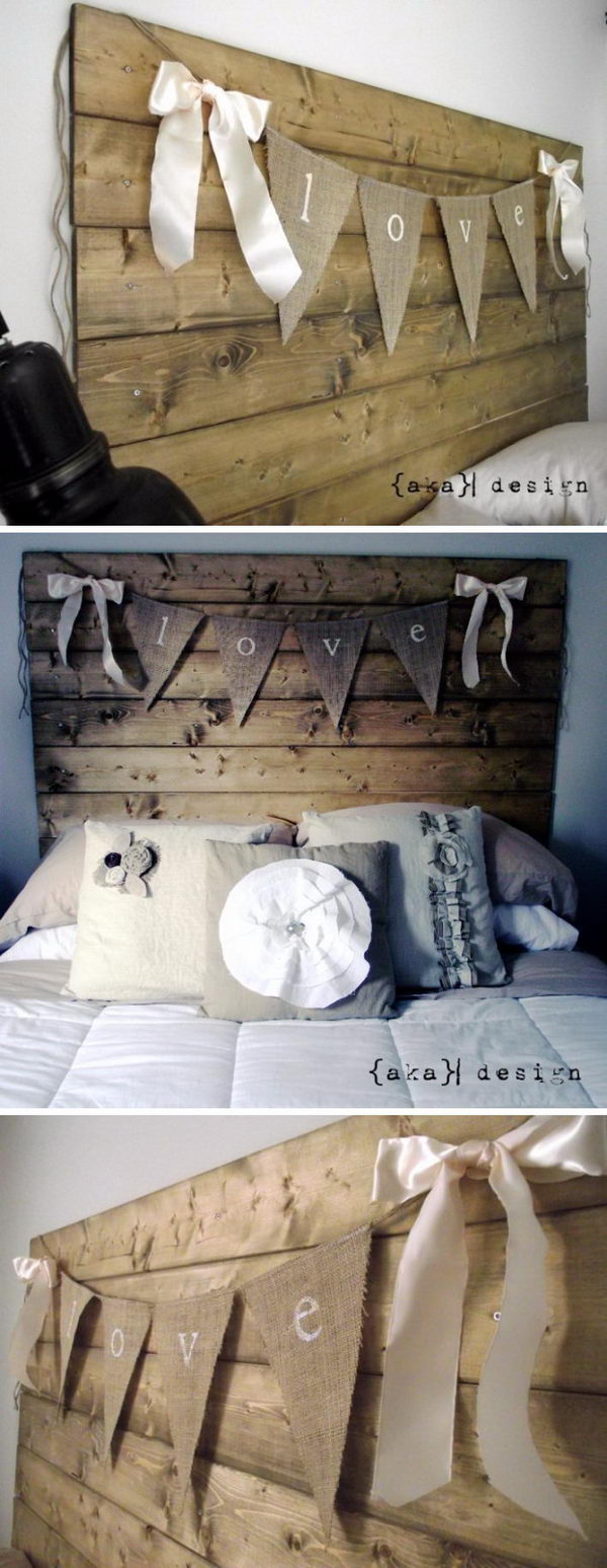 DIY Reclaimed Wood Look Headboard.