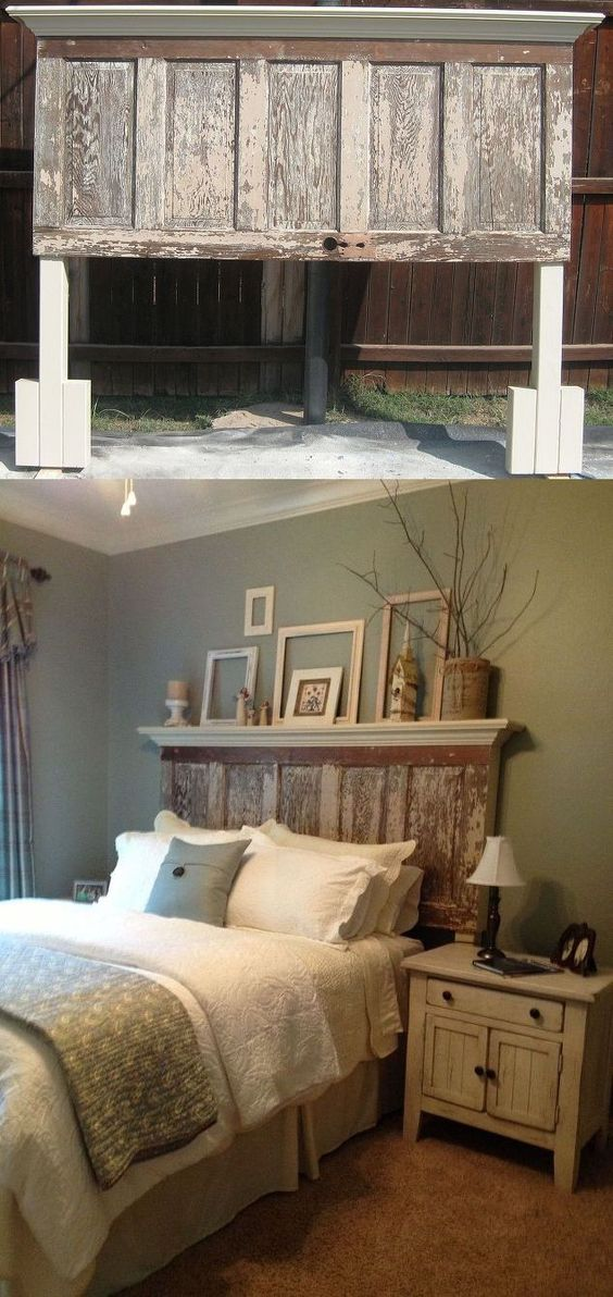 Merveilleux DIY Old Door Turned Headboard