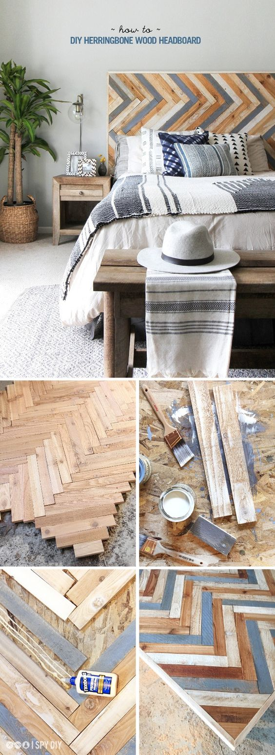 DIY Rustic Herringbone Headboard.
