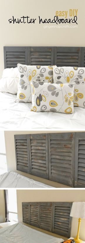 DIY Headboard From Old Shutters.
