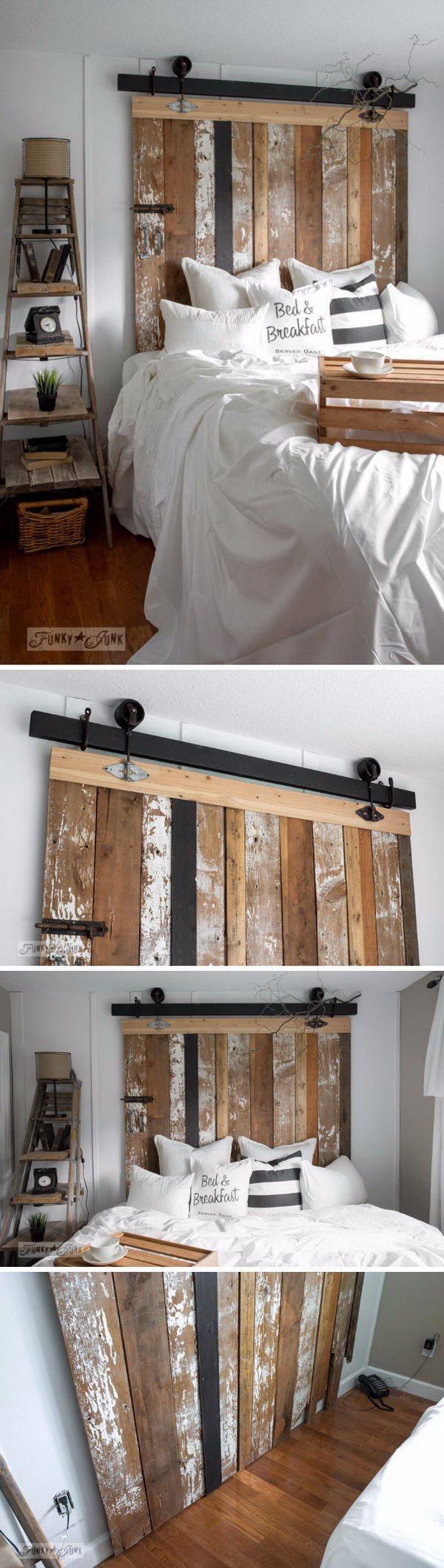 DIY Reclaimed Wood Barn Door Headboard With Faux Hardware.