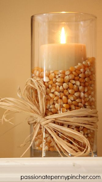 $6 Popcorn filled Vases for Fall or Thanksgiving.