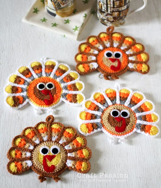 Crochet Turkey Coasters.