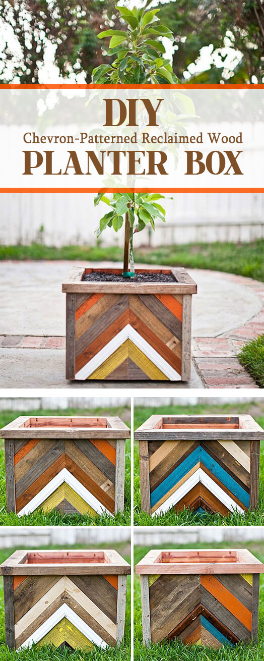 Chevron Patterned Wooden Piecework Planter Box.