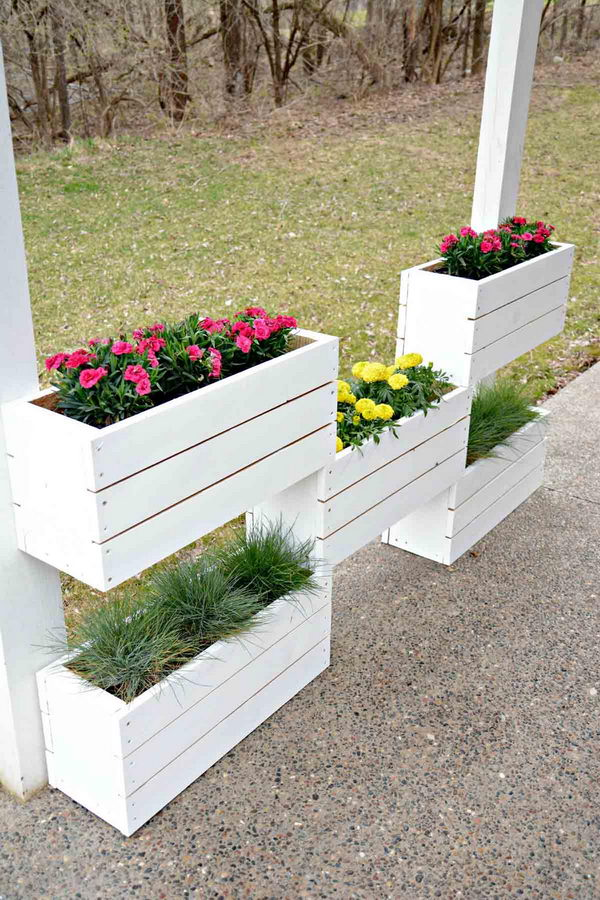 DIY Tiered Wood Planter Boxes.