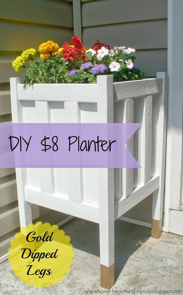 DIY Front Porch Planter With Gold Dipped Legs.