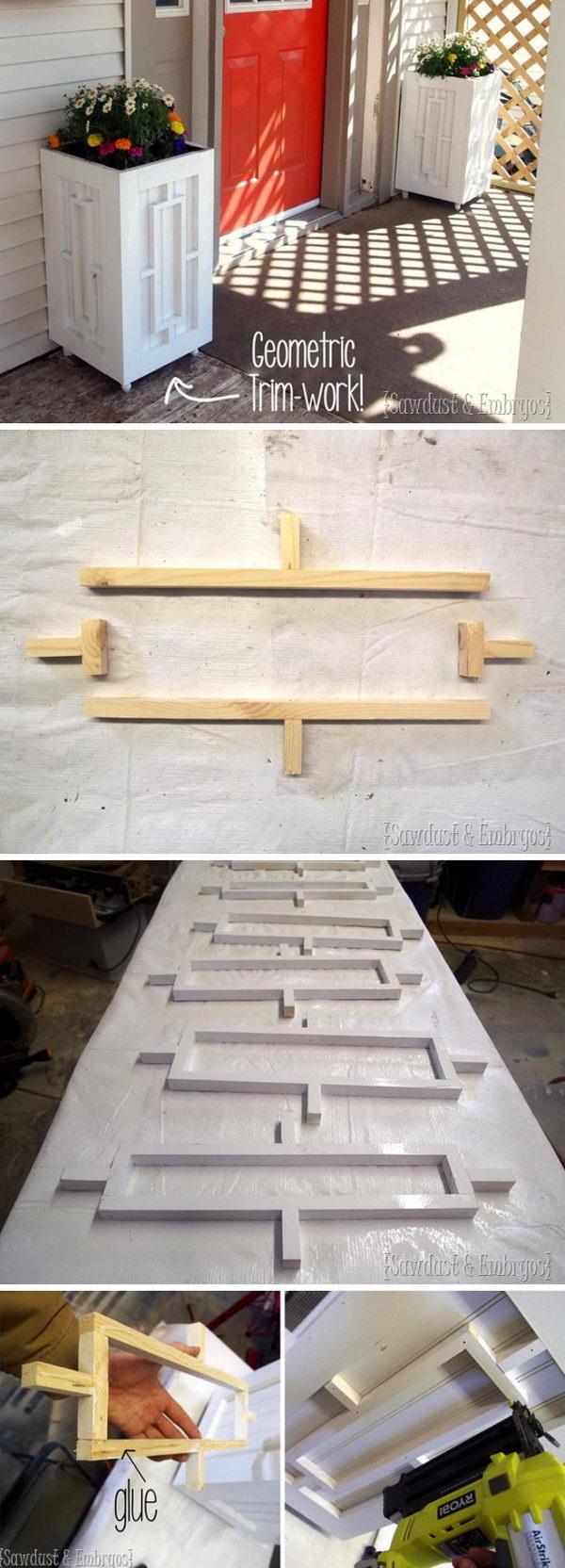 Custom Planter Boxes with Geometric Inlays.
