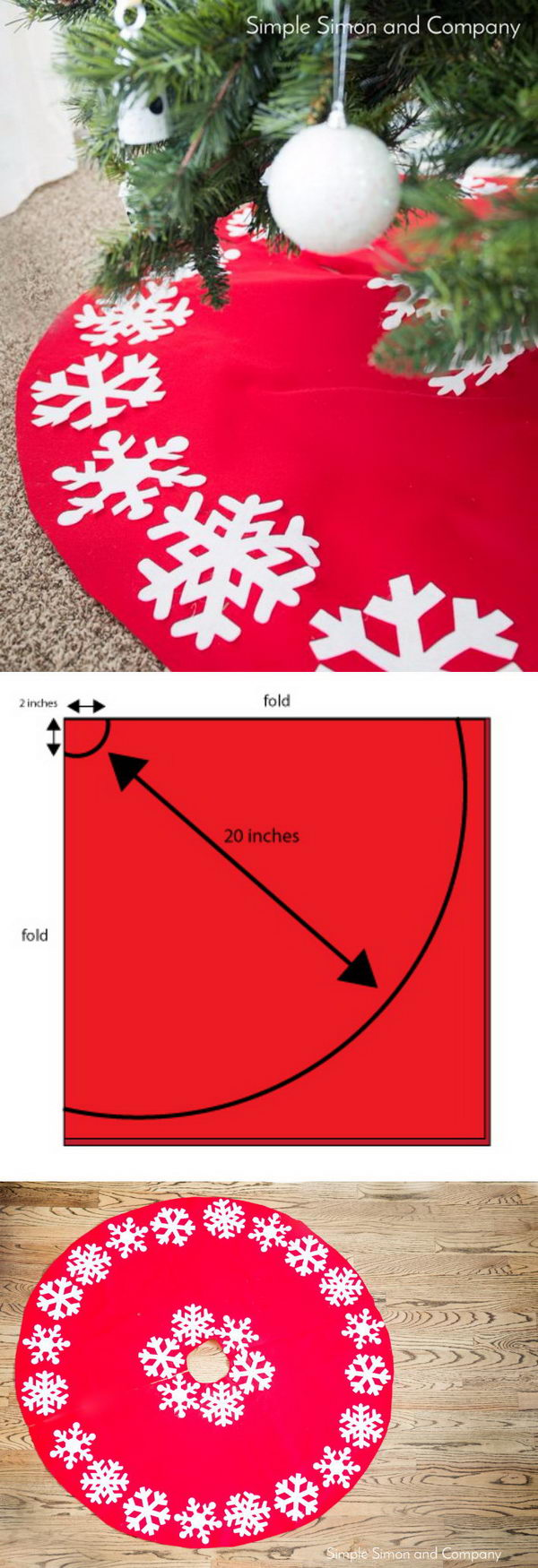 No Sew Snowflake Christmas Tree Skirt Tutorial.