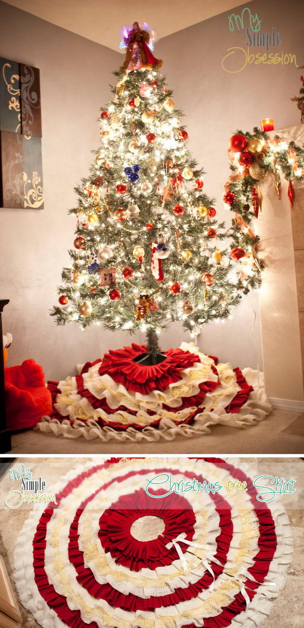 DIY Red And White Ruffled Christmas Tree Skirt.