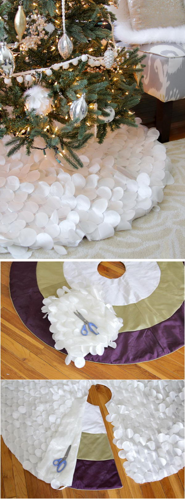 White Christmas Tree Skirt with Fabric Circles.