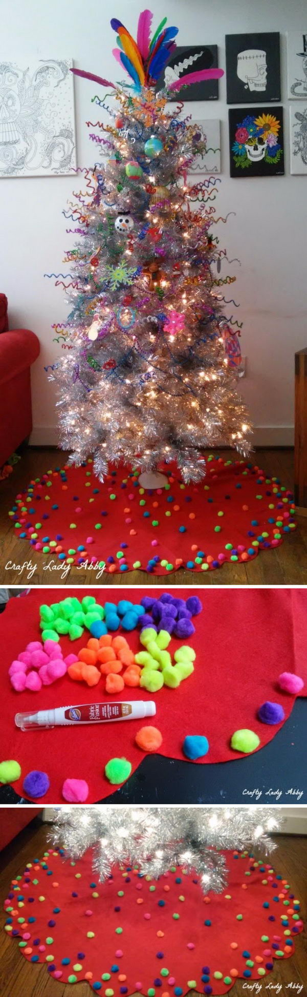 Pom Pom Christmas Tree Skirt.