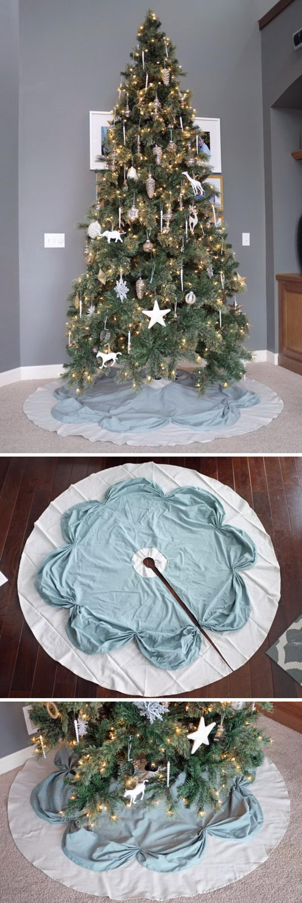 DIY Simple Ruched Tree Skirt.