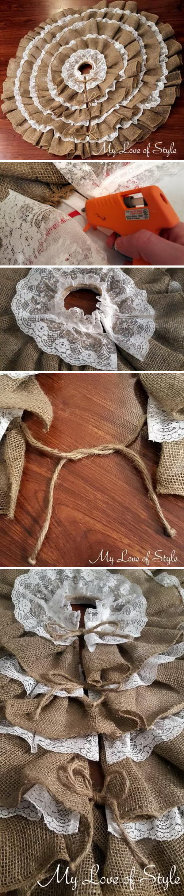 DIY No Sew Burlap and Lace Christmas Tree Skirt.