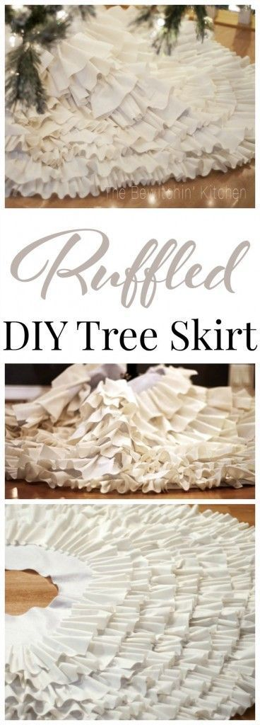 DIY Ruffled Christmas Tree Skirt.