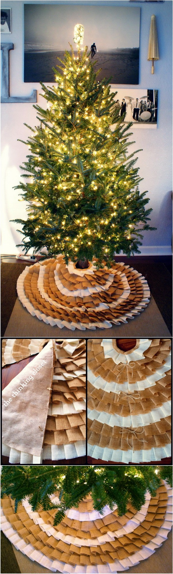 DIY No Sew Ruffle Christmas Tree Skirt.