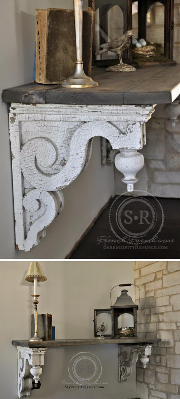 Reclaimed Architectural Corbel Entry Foyer Table.