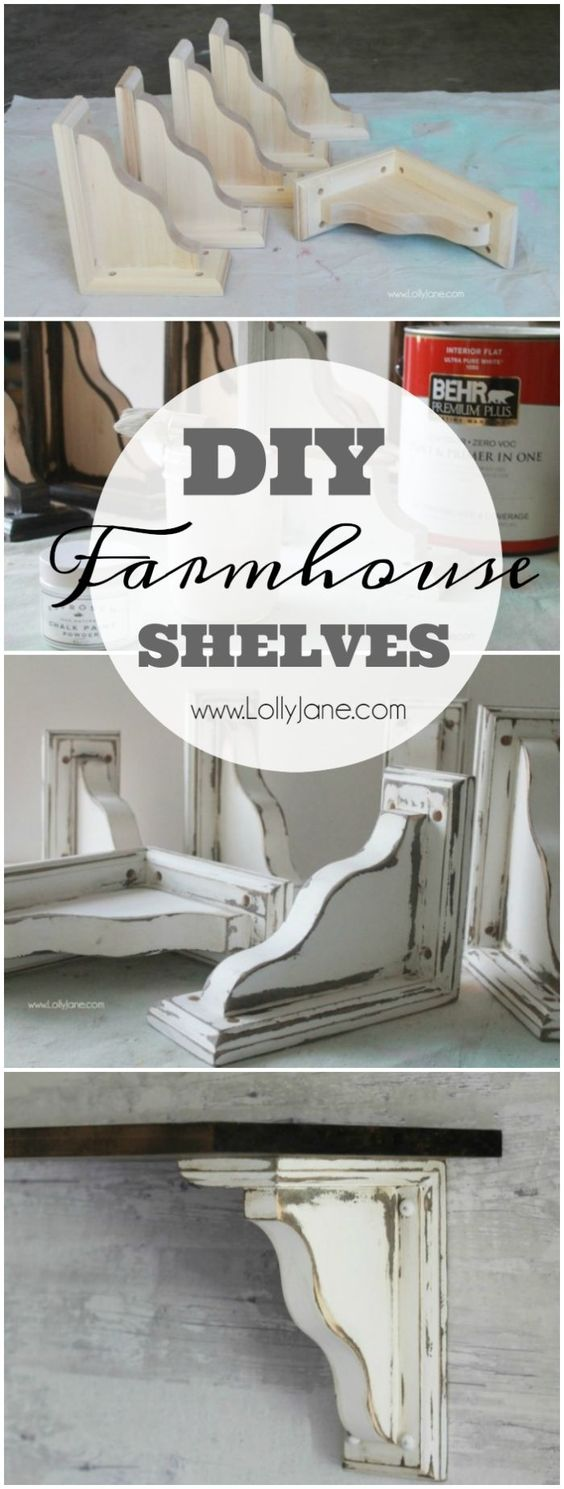 Pretty Farmhouse Shelves Using Corbels.