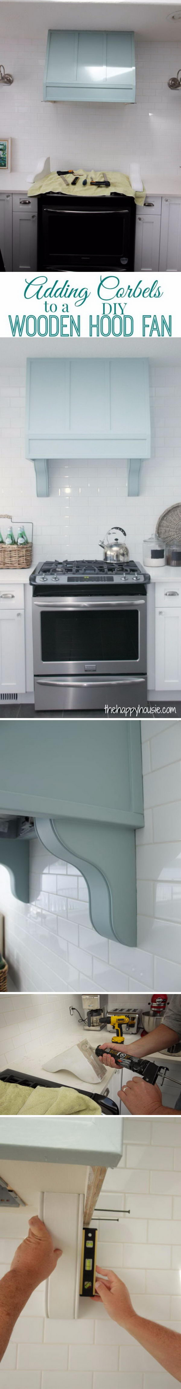 Add Corbels to a DIY Wooden Hood Fan.