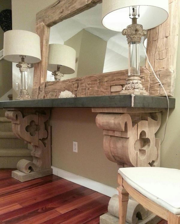 DIY Corbel Entry Table With Barn Beam Mirror.