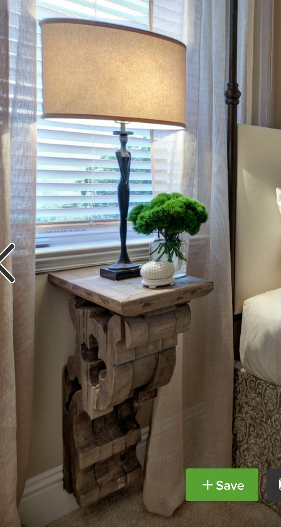 DIY Corbel Nightstand For Space Saving And A Rustic Look.