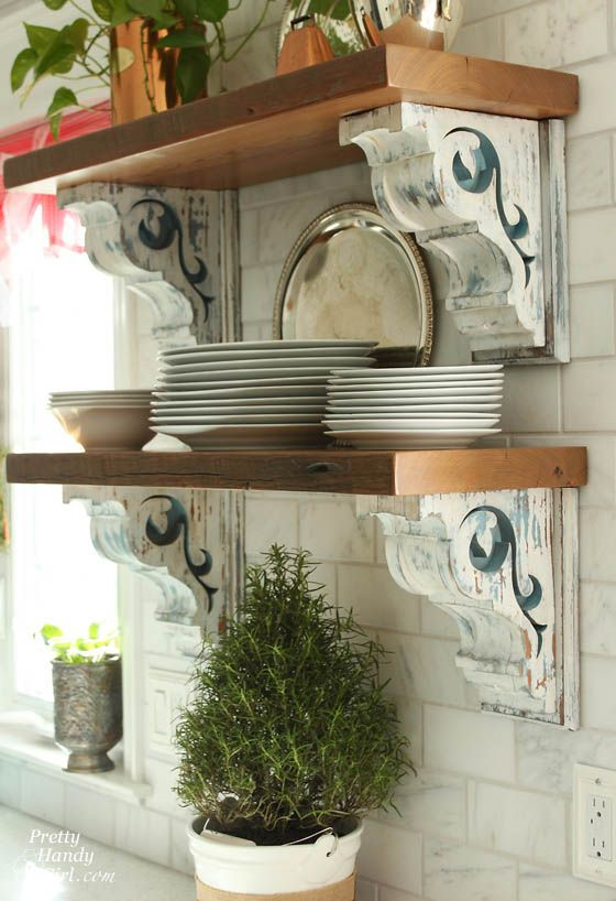 DIY Farmhouse Style Corbel Shelves.