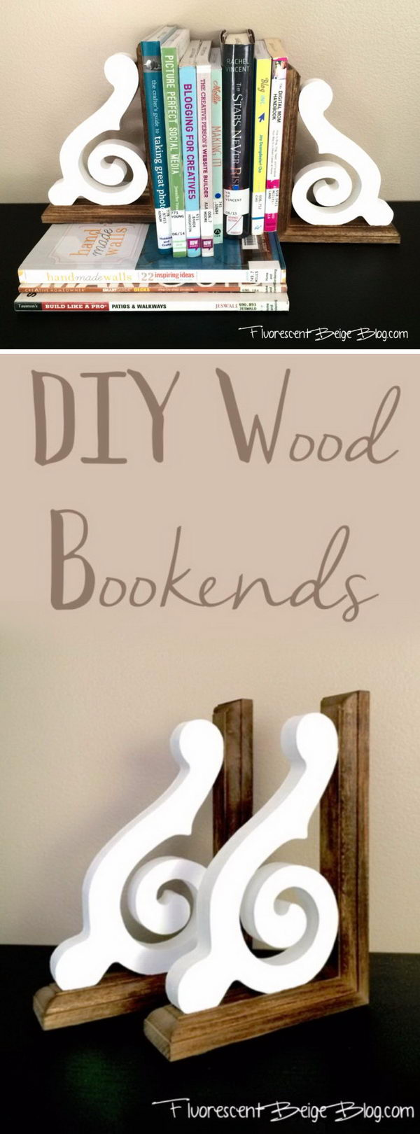 DIY Rustic Wood Corbel Bookends.