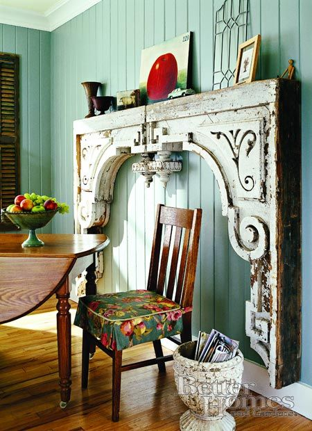 Make A Fireplace Surround From Two Very Large Wood Corbels.