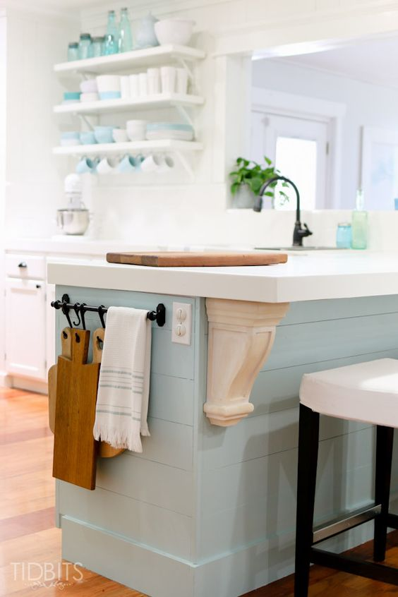 Add Character To Your Kitchen Island Using Chunky Corbels.