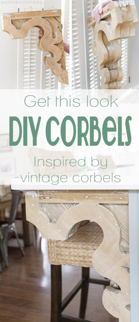 Add Age And Character To Your Kitchen Island With DIY Vintage Rustic Corbel.