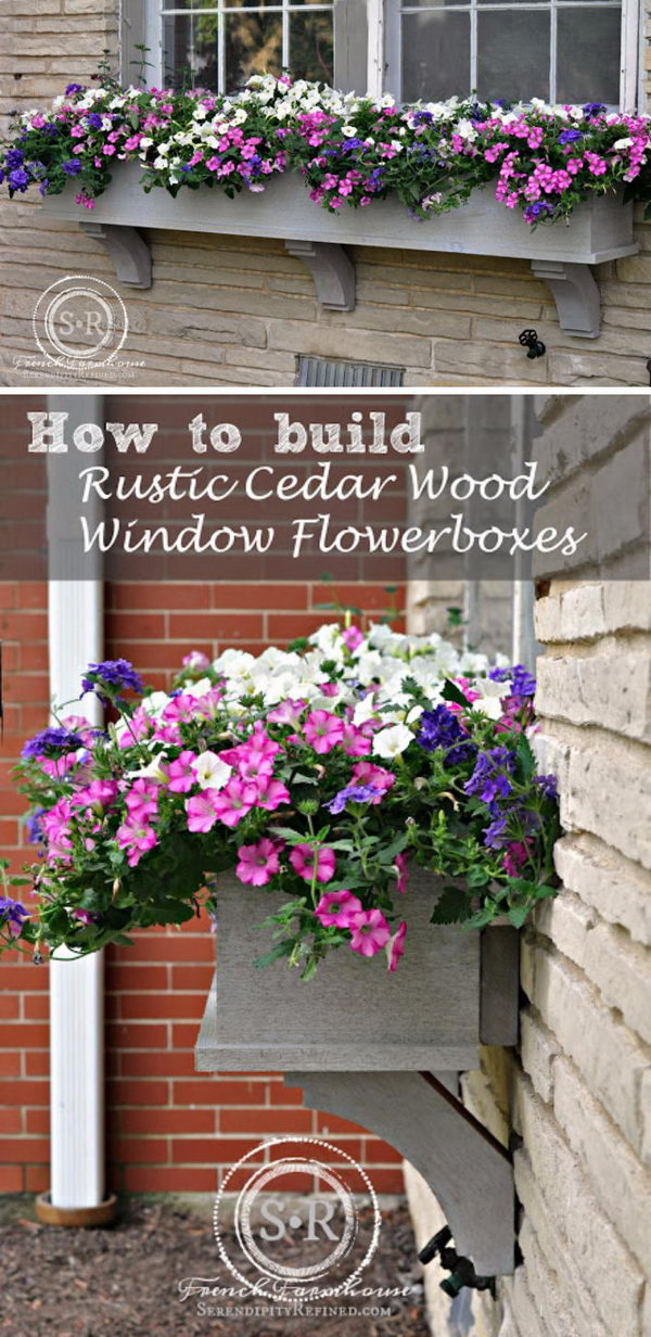 DIY Rustic Cedar Window Flower Box With Corbels.