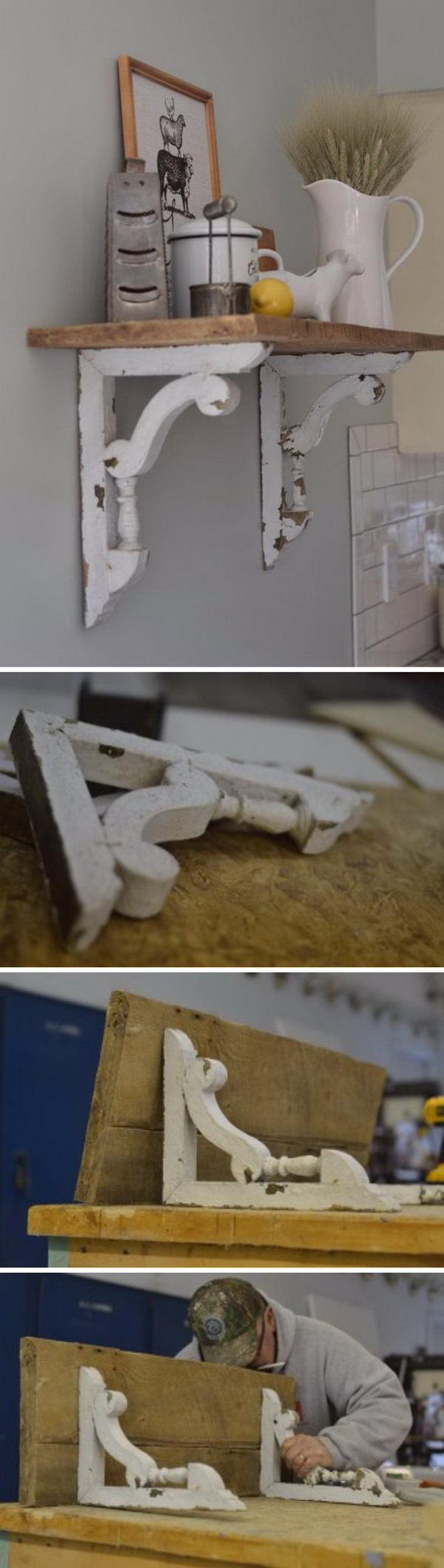 DIY Shelf Made From Old Barn Wood And Beautiful Chippy White Corbels.
