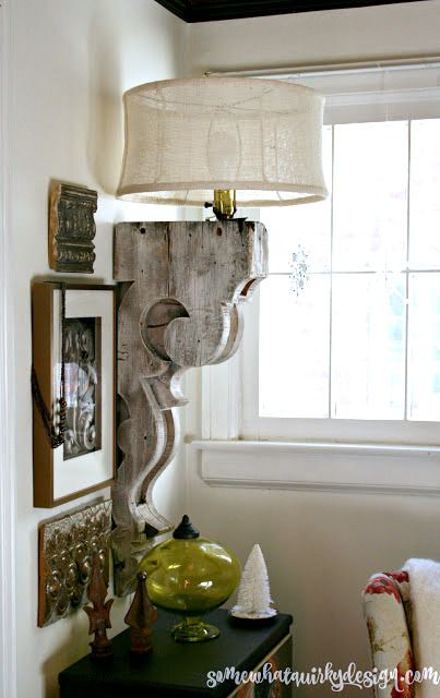 Corbel And Burlap Lampshade Lamp.