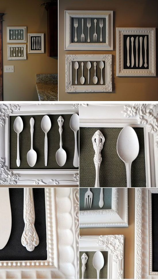 Wall Art Made From Recycled Cutlery And Dollar Store Frames
