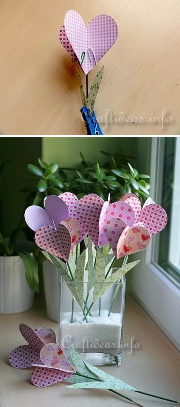 DIY Paper Hearts Bouquet.
