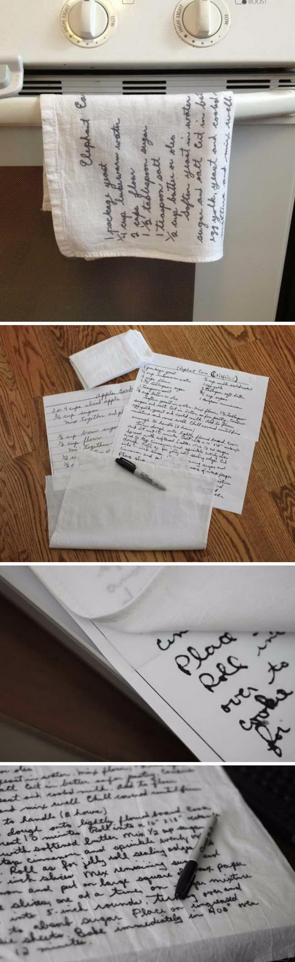 Handwritten Recipes Printed on Tea Towels For Mom.