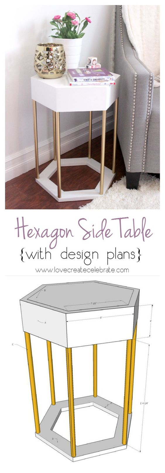 Modern Hexagon Side Table.