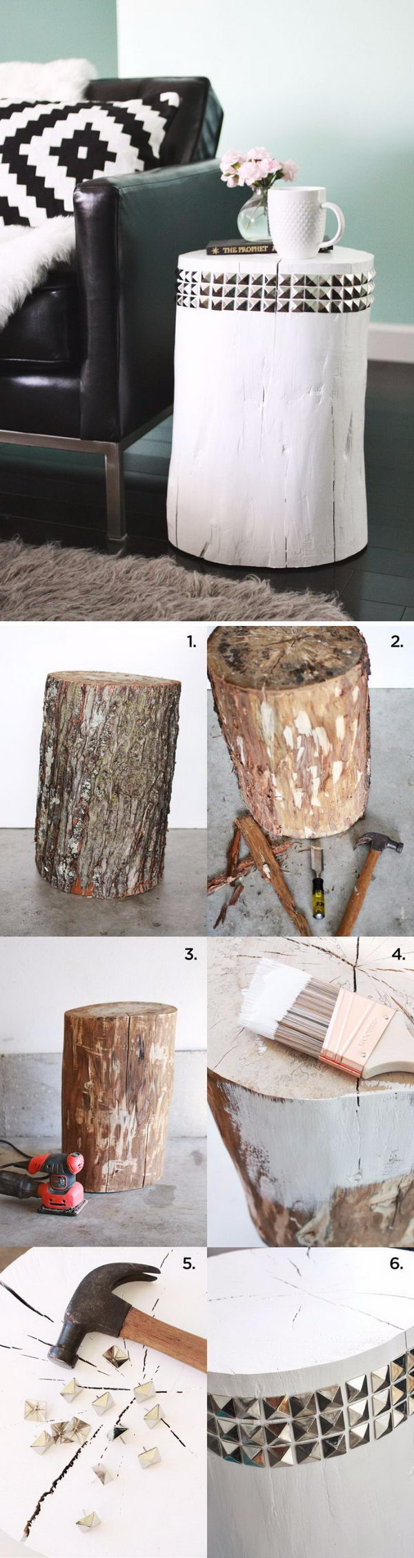 DIY Studded Tree Stump Side Table.