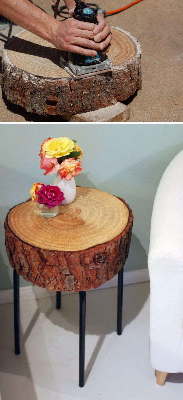 DIY Log Slice Table.