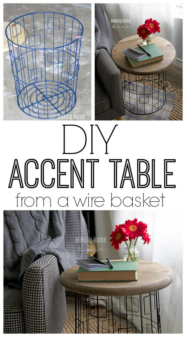 DIY Accent Table From A Wire Basket.