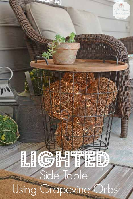 DIY Side Table With Lighted Grapevine Balls Inside.