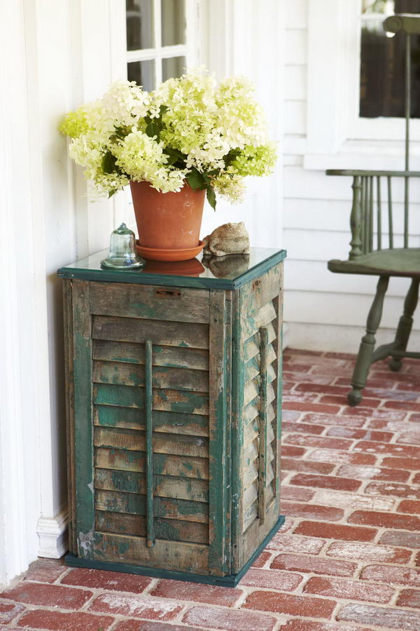 DIY Shutter Side Table.