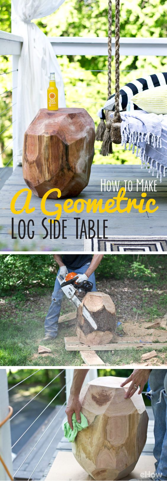 DIY Geometric Log Side Table.
