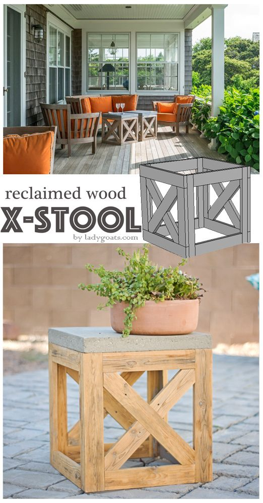 DIY Outdoor Stool Or Side Table From Reclaimed Wood.