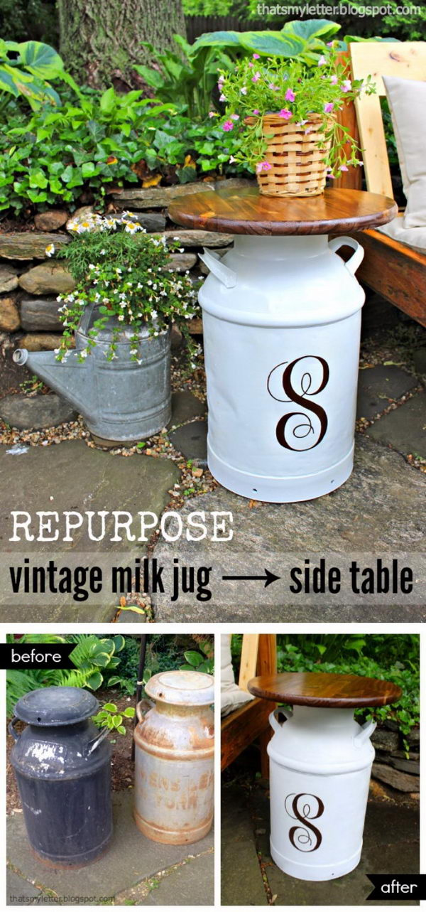 Repurposed Vintage Milk Jug Side Tables.