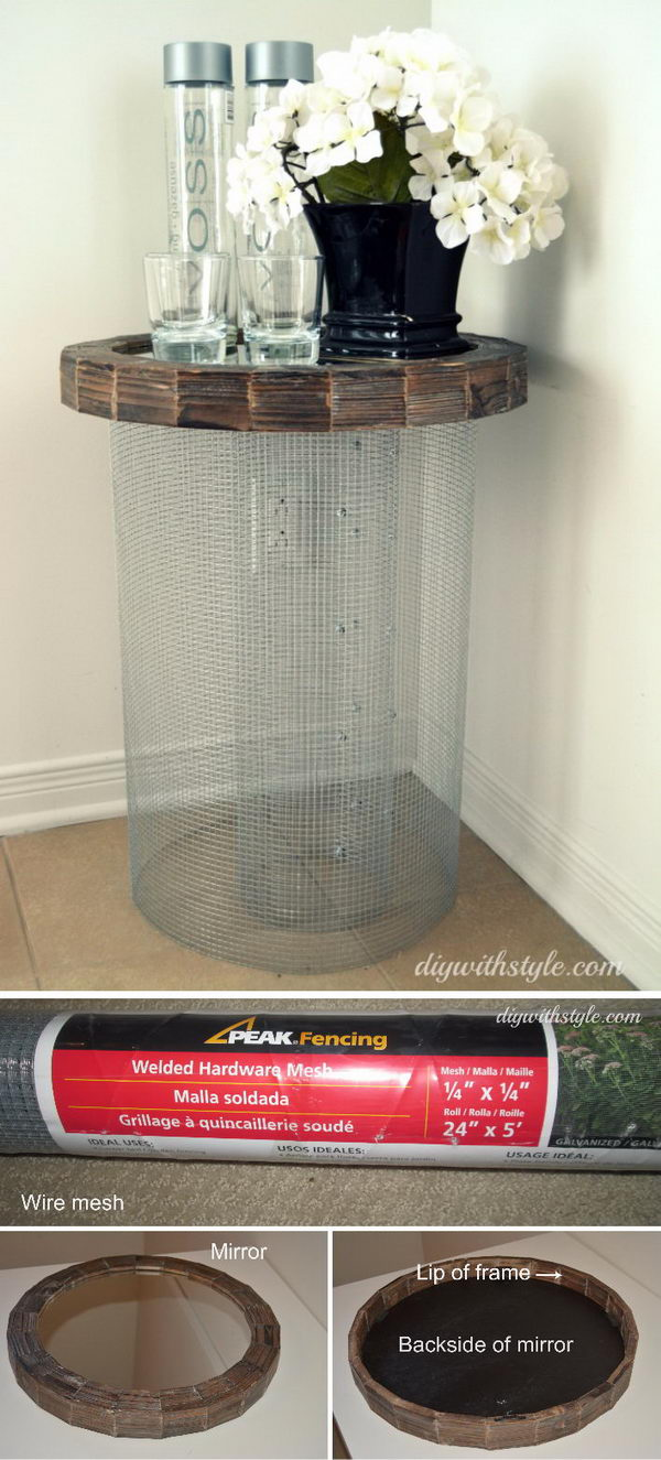 DIY Mesh & Mirror Side Table.