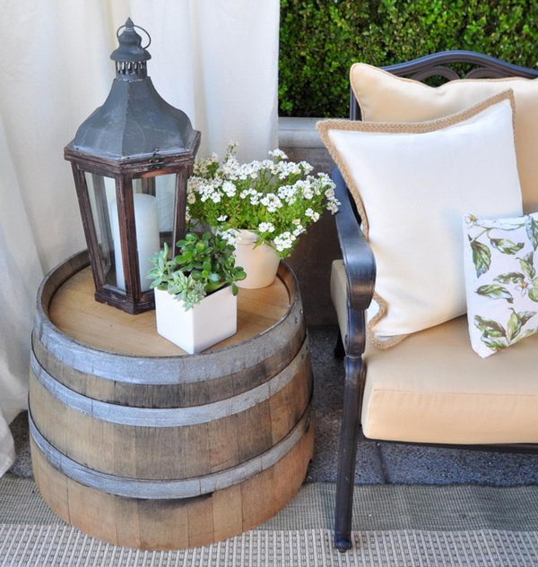 Recycled Wine Barrel Side Table.