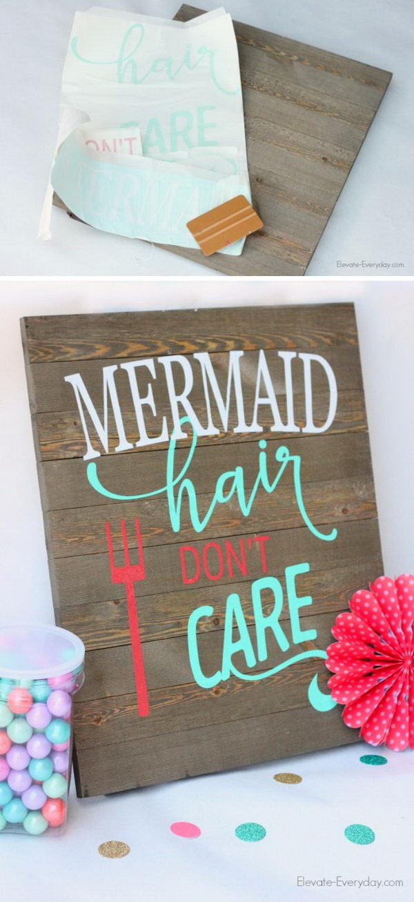 DIY Mermaid Wood Sign.