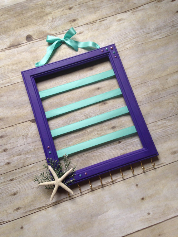 Purple And Teal Hair Bow Holder For A Little Mermaid.